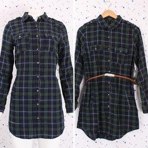 Dresses & Skirts - Plaid Button Up Shirt Dress with Belt Navy/Green